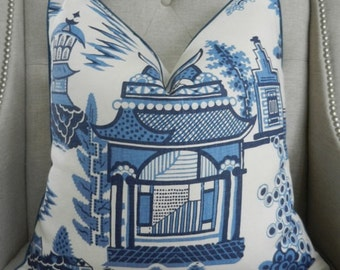 "Schumacher Nanjing print in Porcelain - 18""x18"" - Pattern on the front"