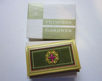 vintage key case - Princess Gardner Gold Heiress Key Gard - new in box - top grain cowhide, mustard yellow and green
