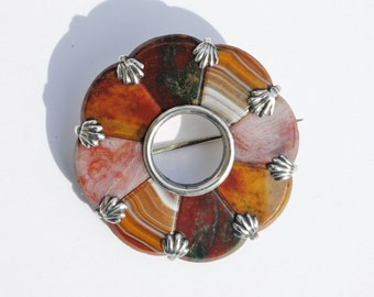 Victorian Scottish Agate & Sterling Silver Brooch - Scottish Agate, Specimen Brooch, Pebble Brooch, Victorian Brooch, Agate Jewelry