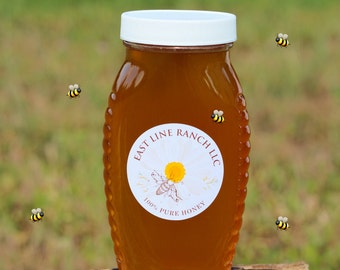 100% Pure Raw Unfiltered Wildflower Honey 16 oz (1 lbs) From Texas.