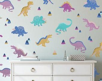 Vinyl Wall Sticker Decal Art - Multicolored Dinosaurs