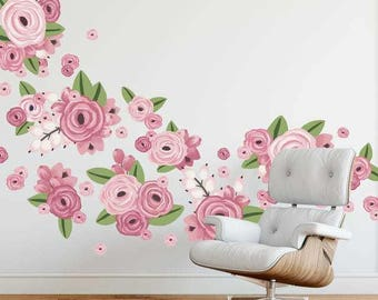 Half Order- Graphic Flower Clusters in Bright Pink