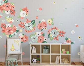 Half Order- Vinyl Wall Sticker Decals - Graphic Flower Clusters- Multicoloured