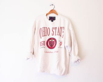 Vintage White Ohio State University Buckeyes Sweatshirt