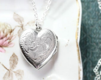 Silver Heart Locket Necklace, Vintage Flower Engraved Sterling Charm Pendant - Sweetheart Locket