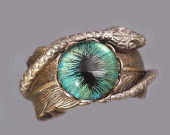 Snake Ring Evil Eye Ring Serpent Eye Ring Feather Ring