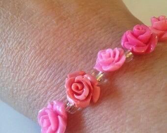Rose bracelet -Pink Roses Bracelet -