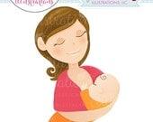 ON SALE Brunette Woman Breastfeeding Character Illustration, Illustration of Woman Breastfeeding Baby, Breastfeeding Graphic