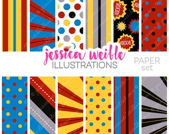 Super Hero Boys Cute Digital Papers for Card Design, Scrapbooking, and Web Design, Superhero Digital Backgrounds