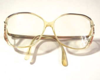 Vintage Eyeglasses Frames, Large 1980s Ladies Glasses with Pink and Gray Accents (DB2)