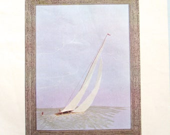 Cathy Alexander Sailboat Crewel Embroidery Kit, Vintage DIY Project
