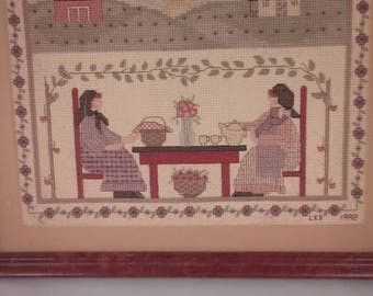 Vintage Cross Stitch Farm Scene