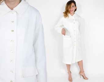 60s White Knit Coat | Long White Jacket | Lightweight Long Coat, Large