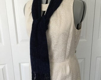 Handwoven Midnight Blue Rayon Chenille Scarf
