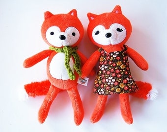 Woodland Fox Set - Woodland Stuffed Animal Set Of Two - Love Valentine