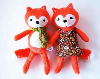 Fox Set - Woodland Stuffed Animal Set Of Two - Love