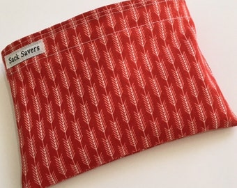 Reusable Sandwich Bag Reusable Snack Bag Woodland Rust Arrow Stripe