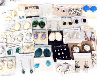 Vintage to Modern Earrings Rhinestones Gemstones Clips Pierced Lots 15 pc lot
