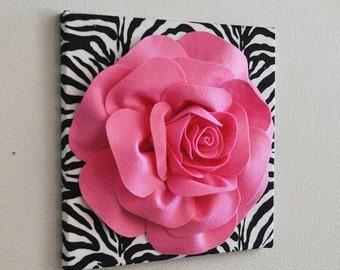 SALE Zebra Wall Hanging Bright Pink Rose on Zebra Canvas - Animal Print Wall Decor