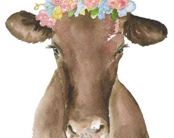 Brown Cow Floral Crown 11 x 14 Watercolor Painting Giclee Print Reproduction - Farmhouse Girls Room Nursery Wall Art