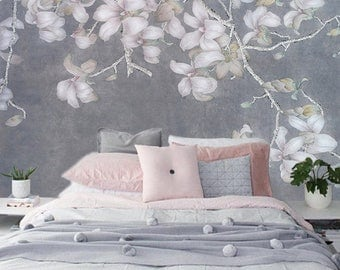 "Smoke Purple Magnolia Wallpaper Vintage Asian Floral Branch Wall Mural Art White Flower Gray Lavender Blue Wall Mural 129.5"" x 81.9"""