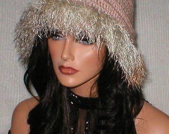 35% OFF SALE Crochet Women Beige Cello Majic Champange Netural Fur 1920's Cloche Flapper Hat
