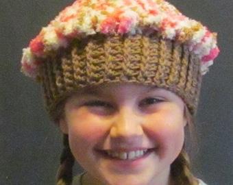 Crochet Cupcake Hat ~ Size Medium ~