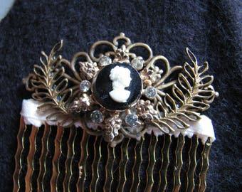 Victorian hair comb | vintage | silhouette cameo | laurel leaf | rhinestone | wedding | bridal hair piece