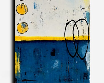 Blue, Yellow White Abstract Painting, 24x36 canvas art original