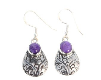 SUGILITE STERLING EARRINGS Etched Ovals New World Gems