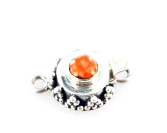 SPINY OYSTER CLASP Deep Orange Sterling Round 6mm NewWorldGems