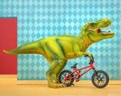 T. Rex dinosaur BMX art print: Shredder