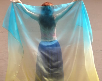 Emerald-green yelow veil for belly dance. Bi-color organza