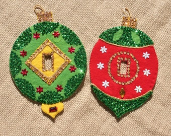 2 Vintage Felt Christmas Ornaments Switch Covers, Sequined, 1960s