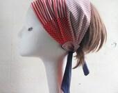 Head Scarf, Head Wrap, Summer, Spring, Red, White, Strips, Boho scarf, fabric headband, Headband, turban