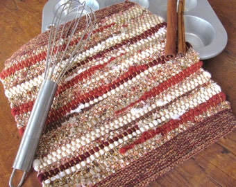 Cranberry Red Brown Rustic Farmhouse Decor Woven Pot Holder, French Country Cottage Kitchen Hot Mat, Mom Gourmet Chef Cooking Baking Gift