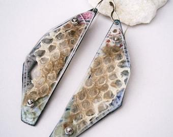 Enameled Shed RattleSnake Skin Specimen Earrings