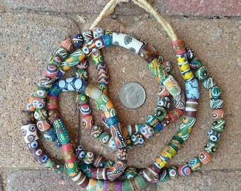 Mixed African Krobo Beads: 2 Strands