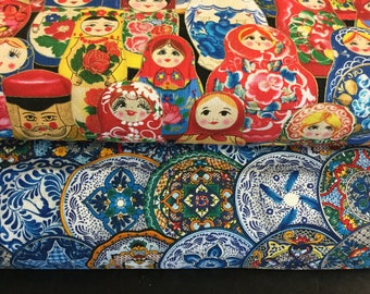 "45"" Cotton Screen Printed Elizabeth Studio Odessa Fiesta Mexican Plates Russian Nesting Doll Matryoshka Folk Print Fabric / Quilting Sewing"