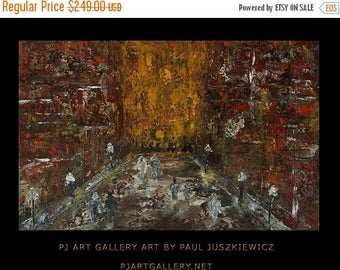 15% OFF /ONE WEEK Only/ New York Boulevard abstract knife painting Paul Juszkiewicz texture red brown brow cognac city street view impasto