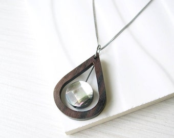 Wood Pendant Necklace, Mother of Pearl Jewelry, 5th Anniversary Gift, Grey, Long, Short, Modern, Geometric, Teardrop, Simple Jewelry, Ebony