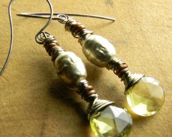 Lemon Topaz Earrings Ethiopian Silver Mixed Metal Tribal Primitive Beaded Jewelry