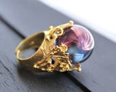 Crystal Ball Ring Crystal Ball Jewelry Fortune Teller Ring Fortune Teller Jewelry Aura Quartz Ring Aura Quartz Jewelry Aura Crystal Ring