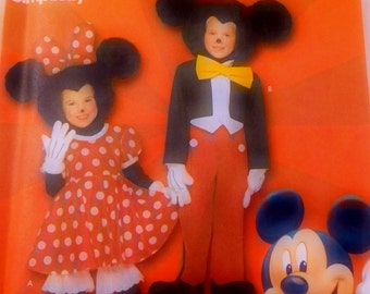 Simplicity Costumes for Boys and Girls Mickey Mouse/Minnie Mouse Size's 3 thru 8  Uncut/FF