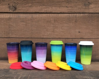 Green Ombre Ceramic Travel Mug with Silicone Lid - Colorful Gradient Design - Pick Your Lid Color - Shades of Greens