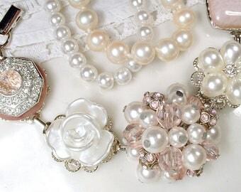 OOAK Blush Pink Bridal Bracelet, Dusty Rose Ivory Pearl Rhinestone Silver Vintage Wedding Earring Bracelet, Bridesmaid Gift Romantic Bride