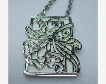 SALE 50% OFF Vintage Coro Lucite Framed Floral Pendant 1970's on Silver Chain