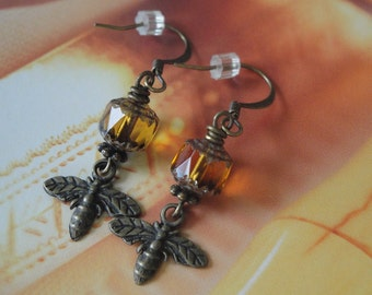 Sugar Bees  Charm Earrings Czech Glass Cathedral Bead Dangle Earrings