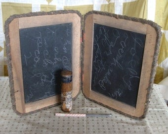 Antique Child's School Double Sided Chalk Board Chalkboard Slate Board 1900s Prim Vintage With Pencil & Crayons~School Supplies