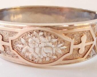 Antique Victorian engraved chased floral cuff bracelet   sterling gold bracelet   Edwardian Aesthetic   vintage wedding   1890 1910